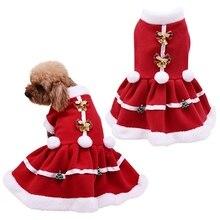 Теплая одежда для домашних животных; сезон осень-зима; костюм для девочек; красное платье; Теплая Флисовая юбка для щенка; рождественское платье