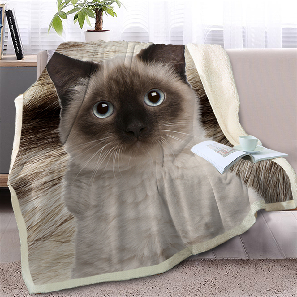 2019 NEWEST Gray Cat Throw Blanket On Bed 3D Animal Plush Sherpa Blanket Pet Siamese Bedspreads Fur Print Thin Quilt 150X200CM