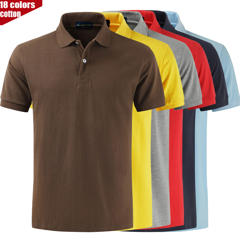 100% Cotton High-quality Men Short Sleeve Polo Shirt Men Ralph Pure Color Brand Lapel Loose Casual Cotton T Shirt Male Tops Tee