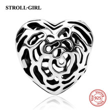 Fit Authentic Pandora Charms Bracelets Silver 925 rose hollow love heart beads DIY fashion Jewelry making women gift