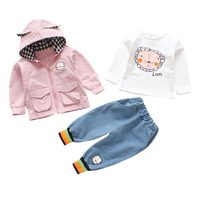 2019 Autumn Children Baby Girls Clothes Set Long Sleeve Cartoon Print T shirt Solid Hoodie Jacket and Denim Pants Kids Clothes