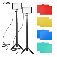 Andoer 2 قطعة USB LED الفيديو الضوئي عدة التصوير الإضاءة 3200K 5600K 120 قطعة الخرز 14 level عكس الضوء مع 148 سنتيمتر/58in حامل ثلاثي القوائم