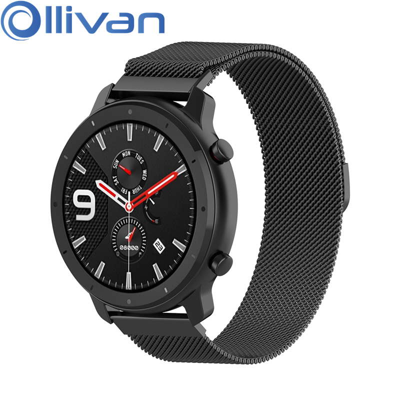 OLLIVAN Metal Milanese Loop Watch Band For Xiaomi Amazfit GTR 47 42 MM Strap Magnetic Bracelet For Amazfit GTR 42MM 47MM Bands