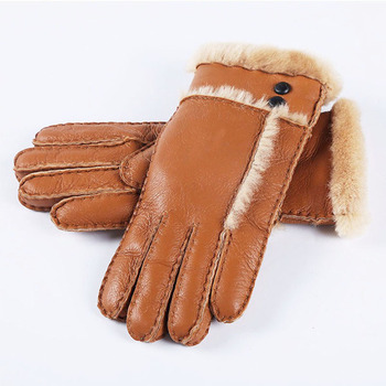 Brand Winter Women Real Sheep Fur Gloves Thicken Hand-made Black Warm Gloves Ladies Outdoor Gloves Waterproof Guantes Mittens women s ladies 100% real leather sheep skin winter warm thick lining white gloves colorful blue cute outdoor short gloves