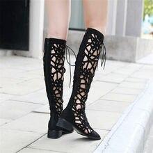Jesień Hot Lace Up Slim buty antypoślizgowe oddychające kobiety wysokie do kolan buty kwadratowe głowy miękkie stado kobieta Sexy ażurowe buty czarny