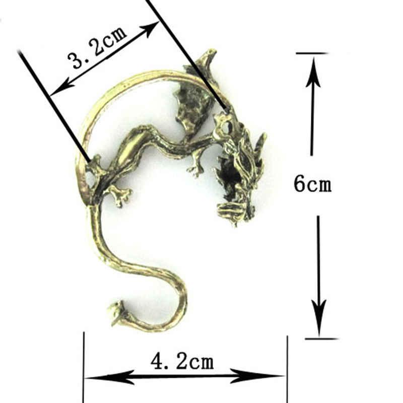 שחור כסף ברונזה עגילי רטרו בציר פאנק פיתוי מתכת הדרקון Bite אוזן קליפ קאף גלישת עגיל 4cm x 6cm