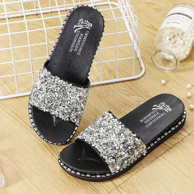 F Sequins Slippers Rhinestones Flat Slippers Bling Crystal Women's Platform Summer Sandals Outdoor Ladies Shoes 2020 Fashion Big