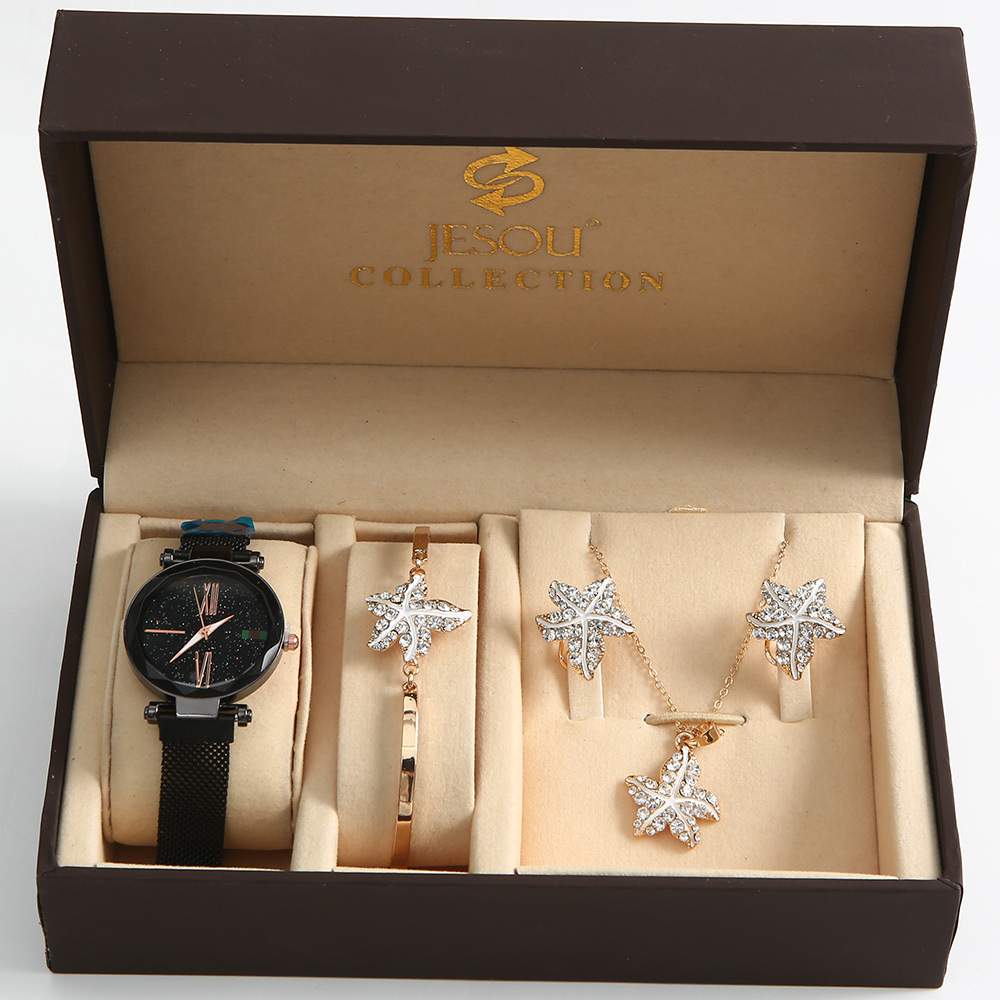 4pcs/set Ladies Gift Set Beautifully Packaged Watches+bracelet Set Earrings Necklaces Bracelets Creative Combination Set