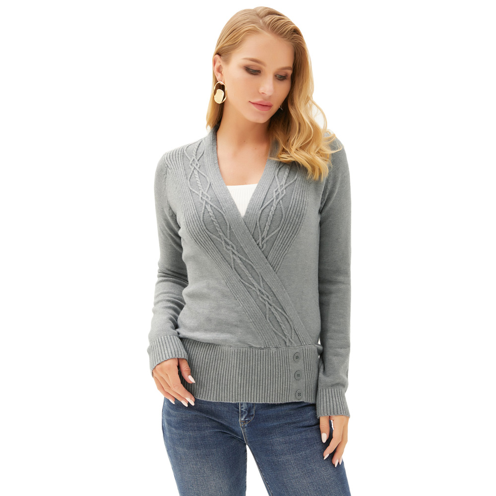 Thick Autumn Winter Women Pullover Sweater <font><b>GK</b></font> Women's Faux Wrap Front Knitwear Pullover Tops Casual Long Sleeve V-Neck Tops image