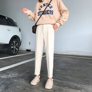 Image 3 - Winter Woolen Pants 2019 New Women Elastic Female Plus Size Casual Trousers Black/Gray/White/Brown Wool Ankle Length Harem Pants