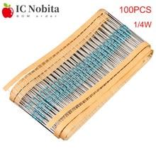 100pcs 1/4W Metal Film Resistor 0.25W 0.1R ~ 10M 100R 220R 1K 1.5K 2.2K 3.3K 4.7K 10K 22K 47K 100K 100 220 330 1K5 2K2 3K3 Ohm