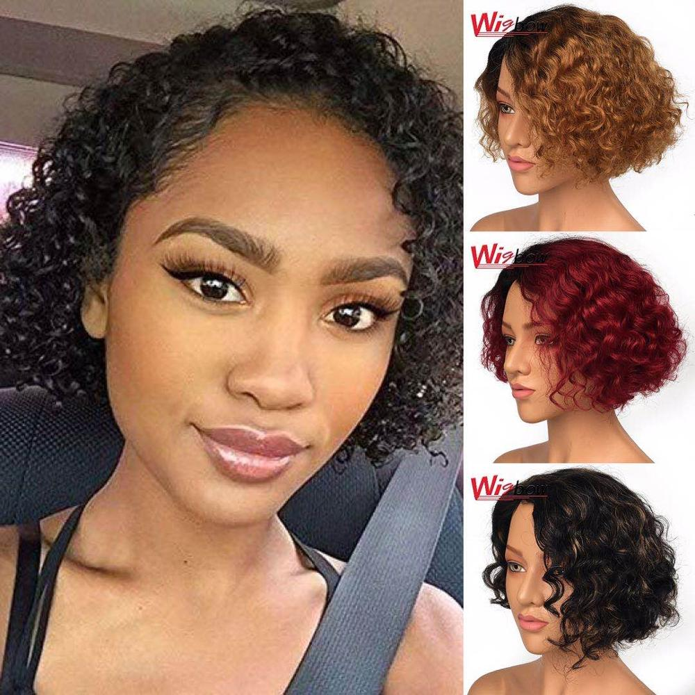 Cheap Short Bob Lace Wig Color Brazilian Remy Human Hair Cut Wigs #30 Red 150 Density Short Curly Wig Fashion Wig Free Shipping