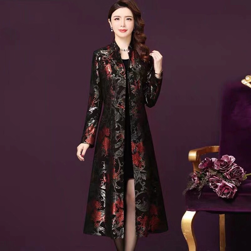 Winter Fall Vintage Womens Red Golden Glitter Floral Printed Black Long Trench Coat , Overcoat For Women , Woman 4xl Coats