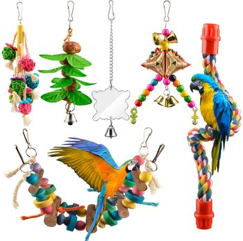 6pcs Bird Swing Toys Parrot Canary Swing Chewing Toys Hanging Perches with Bells Parakeets Swing Chewing Toys 8pcs parrot toys birds toys swing bird chewing toys birds cage toys
