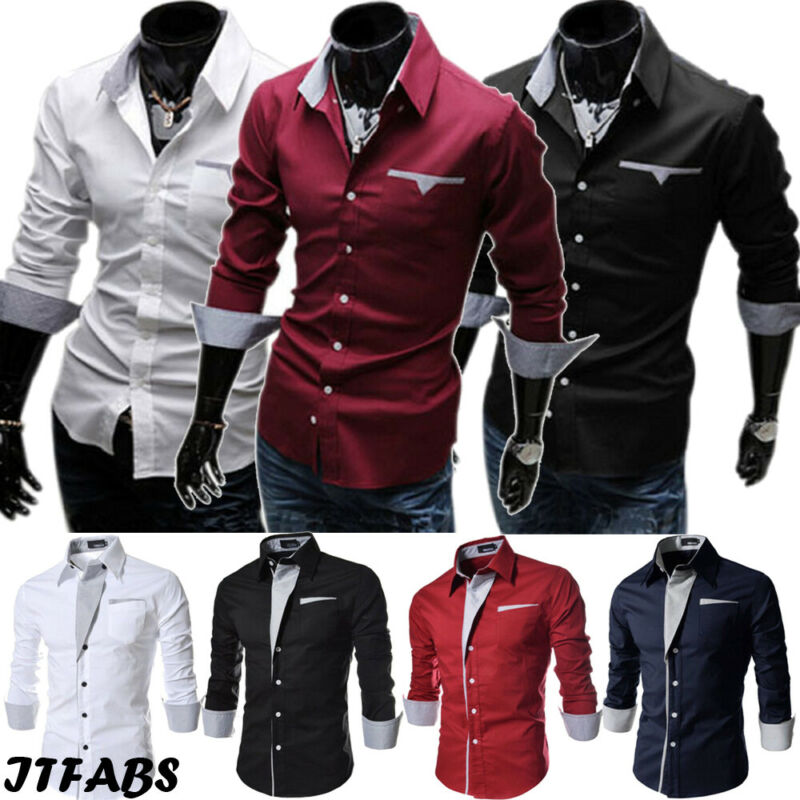 Luxury 2019 Men Casual Long Sleeved Shirts Slim Fit Male Social Business Dress Shirt Brand Men Clothing Camisas Para Hombre hot 2