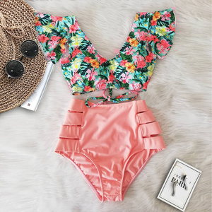 Sexy Bikinis 2020 New Double Shoulder Ruffle Bikini Set High Waist Swimwear Women Swimsuit V-Neck Bathing Suit Beach Wear Swim