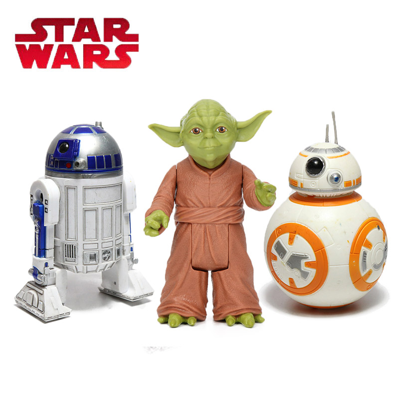 Pack Of 3  Star Wars Toys 10cm Master Yoda Das Jedi Samurai PVC Action Figure BB-8 R2-D2 The Force Awakens Baby Yoda Model Doll