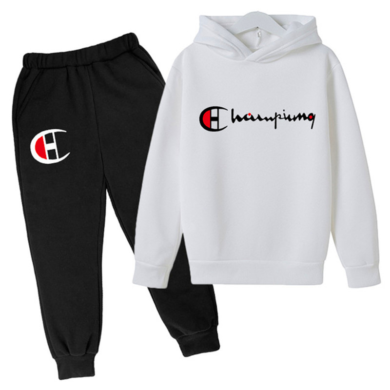 Children's Sets 2PC Boys Girls Sport Outfits Clothing Kids Boys Girls Casual Cotton Tracksuit Basketball Hoodies+Long Pants Sets