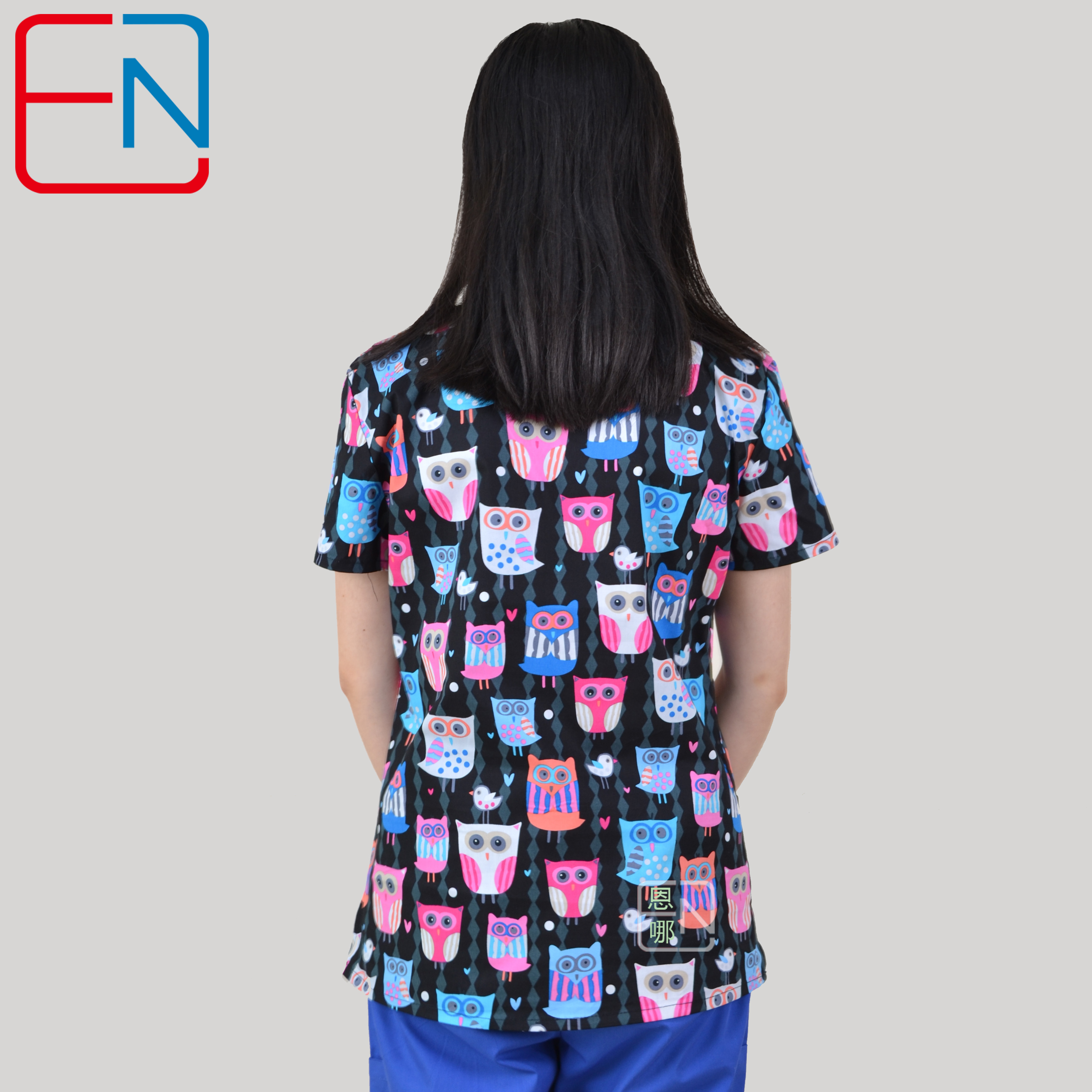 Image 3 - Brand medical scrub tops for women surgical scrubs,scrub uniform in 100% print cotton Chengse maotouying-in Scrub Tops & Bottoms from Novelty & Special Use