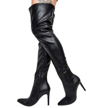 HARAVAL Winter Woman Over-the-knee Boot High Quality Stretch Fabric Pointed Toe Sexy Heel Shoes Solid Warm Fashion Boots