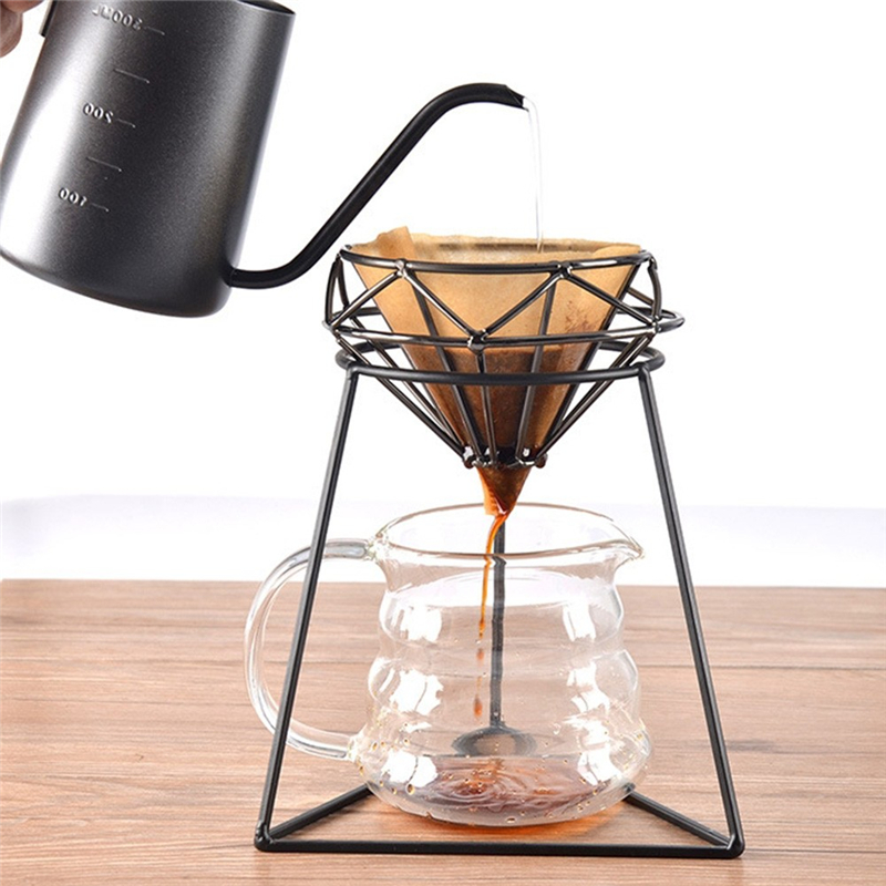 Coffee Filter Stand Rack Stainless Steel Manual Pour Over Drip Coffee Filter Cup Bracket Tea Leaf Stand Holder Home Supplies