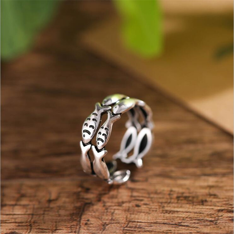 New Retro Personality Double Layers Small Fish 925 Sterling Silver Jewelry Popular Creative Animal Opening Rings SR611