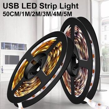 USB LED Strips Lamp 5V TV LED Backlight Ampoule 0.5M 1M 2M 3M 4M 5M Flexible Neon Light Strip Tape Ribbon Room Decorate 2835SMD 1