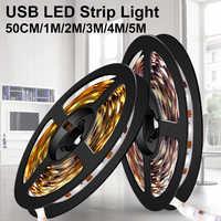 Tiras de LED USB para iluminación trasera de TV, ampolla de 0,5 M, 1M, 2M, 3M, 4M, 5M, cinta Flexible de neón para decorar habitación, 2835SMD, 5V