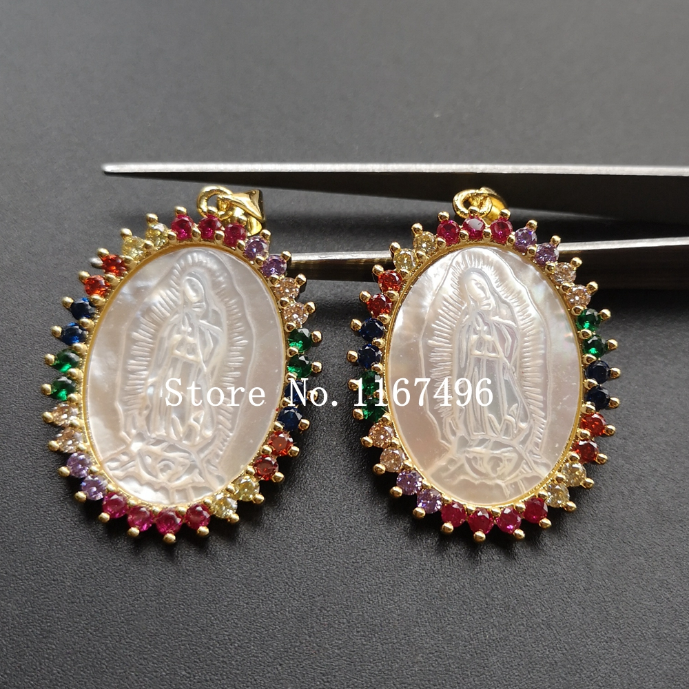10pcs/lot 25x34mm AAA CZ Natural Lady of Guadalupe Mother of Pearl Shell Charms Oval MOP Pearl Shell Pendant for Gift-in Pendants from Jewelry & Accessories    1