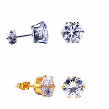 Stud Earrings Stainless Steel Jewelry Woman Accessories Female Fashion Silver Gold Small Crown Zircon Crystal Earring For Men