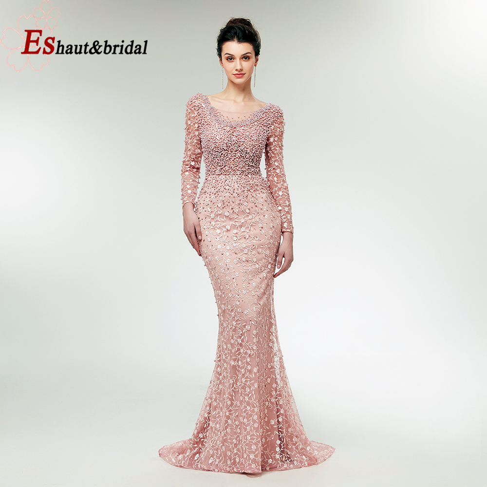 2019 Full Lace Pearls Mermaid Handmade Evening Fromal Dress O-neck Long Sleeves Beads Prom Party Gowns