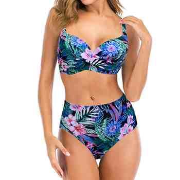 Push Up Swimsuit Women Tankini Plus Size Swimwear Floral Print Swimsuits Bandage Sexy Bikinis Summer Beachwear Bathing Suit 3XL