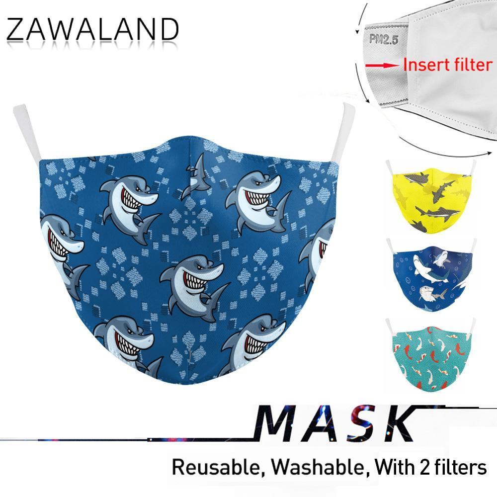 Zawaland Cartoon Shark Mask Washable Whale Mouth Mask Protective Filter Facemask Proof Flu Mouth-muffle For Women Men