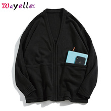 Solid Men Sweater Coats 2019 V-Neck Pockets Cardigan Fall Casual Knitted Wool Sweaters Zipper Hip Hop