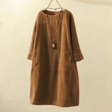 Размера плюс свободные Повседневное женское платье Винтаж карманы Вельветовая однотонная Цвет платье с длинными рукавами однотонное, стильное на каждый день женское платье