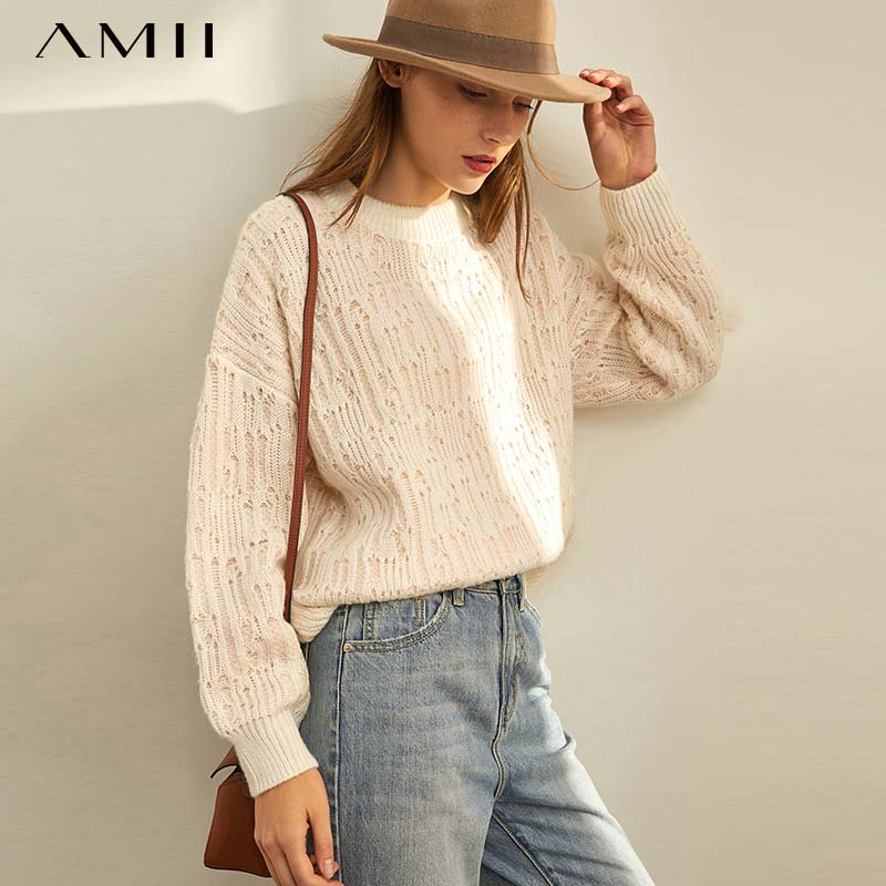 Amii Autumn Winter Women Korean Knit Sweater Female Solid Round Neck Knitted Pullover Sweater Tops  11930271