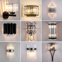 JMZM Modern Black Crystal Wall Light LED Bathroom Lamp Bedside Wall Sconce Lamp For Bedroom Living Room Nordic Light Fixtures