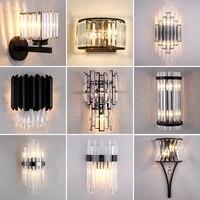 JMZM applique da parete moderna in cristallo lampada da applique a LED nera lampada da parete da comodino creativa per interni soggiorno sala da pranzo scala bagno corridoio