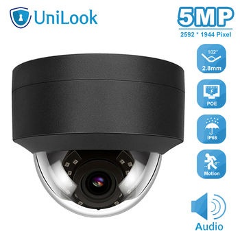 UniLook(Hikvision Compatible) 5MP Dome POE IP Camera Built-in Mic In/Outdoor Security IR 30m H.265 CCTV Video Surveillance ONVIF hikvision ds 2cd3135f i chinese version h 265 3mp dome ip camera ir 30m support onvif poe security camera