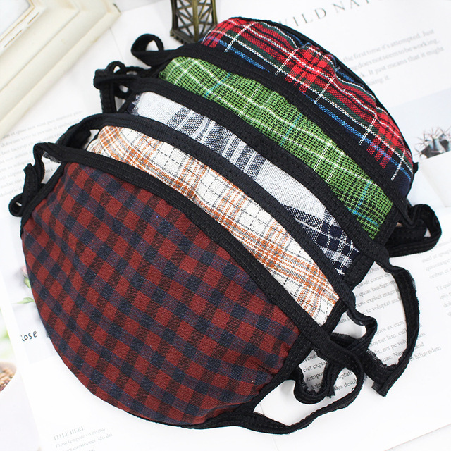 Checkered striped Cotton mouth Mask anti dust mask Windproof Mouth-muffle bacteria proof Flu face mask men women 4