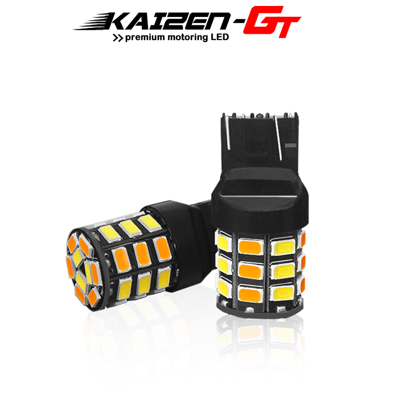 Switchback 7443 7444 <font><b>T20</b></font> <font><b>W21</b></font>/<font><b>5W</b></font> Dual-Color White/Amber 33-SMD LED Bulbs For Driving/Parking DRL Light Front Turn Signal Light image
