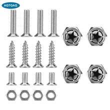 AQTQAQ-tornillos de Metal cromado con Logo de Land Force Black pentagrama, pernos para marco de matrícula de coche, antirrobo, paquete de 4