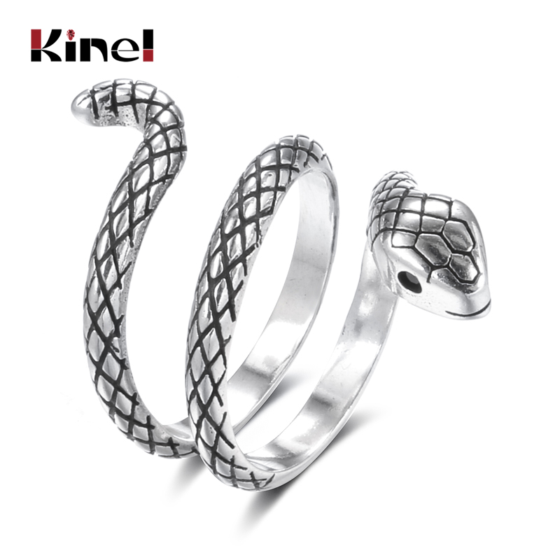 Kinel moda yılan yüzükler kadınlar için tibet gümüş ağır metal Punk Rock doğal zirkon yüzük Vintage hayvan figürlü mücevherat 2021 yeni