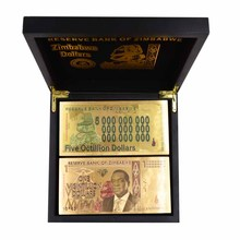 One Hundred Decillion Dollars 24K Gold Zimbabwe Banknote Ticket for Collection and Souvenir Gift 100pcs/lot