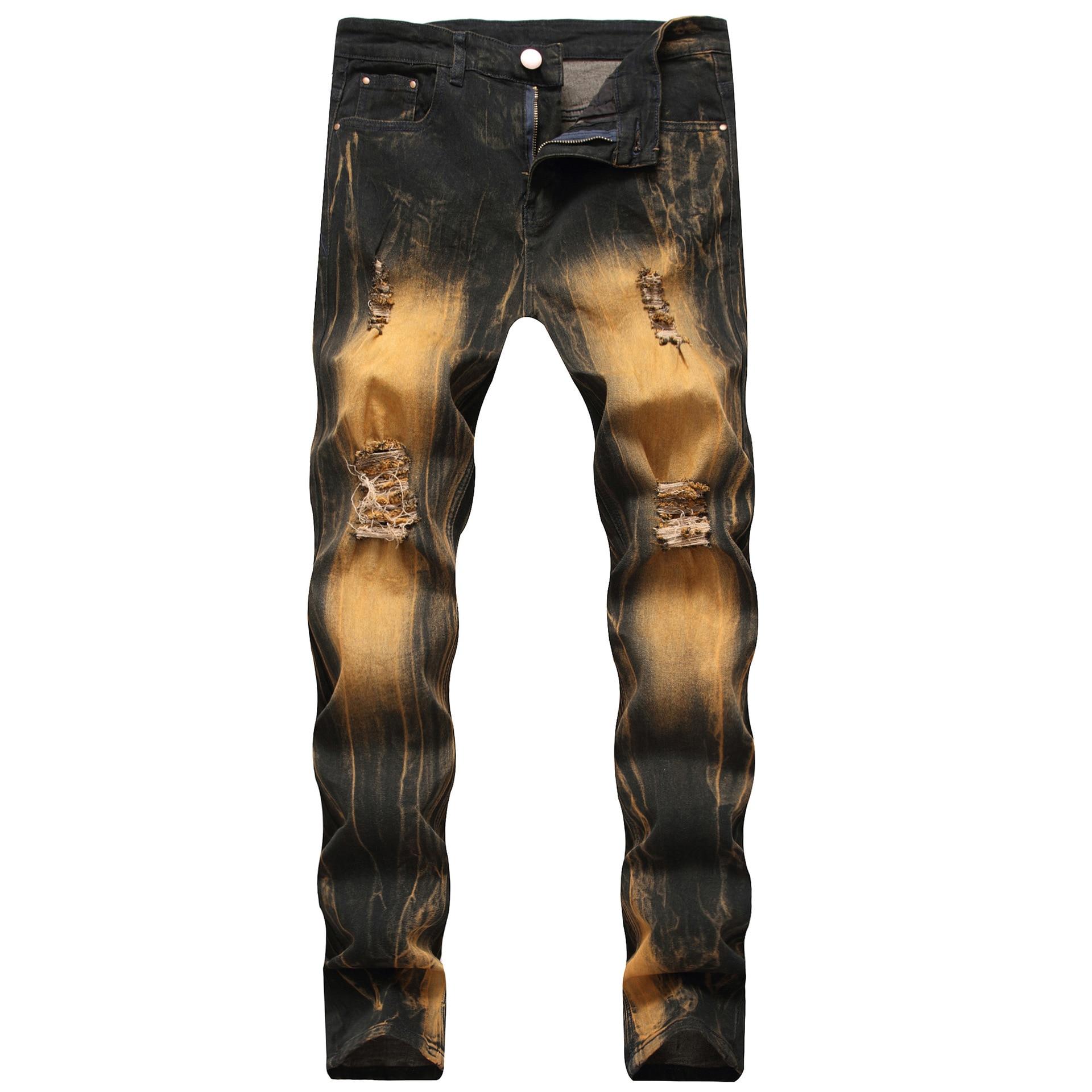 2019 Fashion Vintage Ripped Jeans For Men Washed Slim Retro Distressed Denim Pants Full Length Plus Size Hip Hop Jeans Men Brand