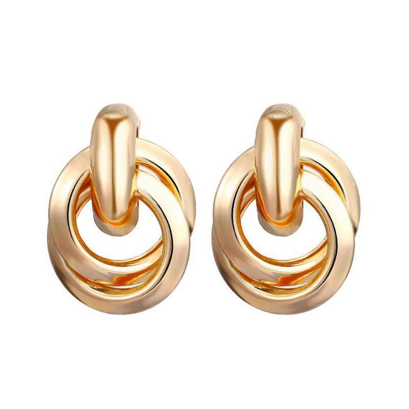 Hot Gold และ Silver Alloy จี้ต่างหูผู้หญิงต่างหูงานแต่งงานแฟชั่นแนวโน้มเครื่องประดับอุปกรณ์เสริม