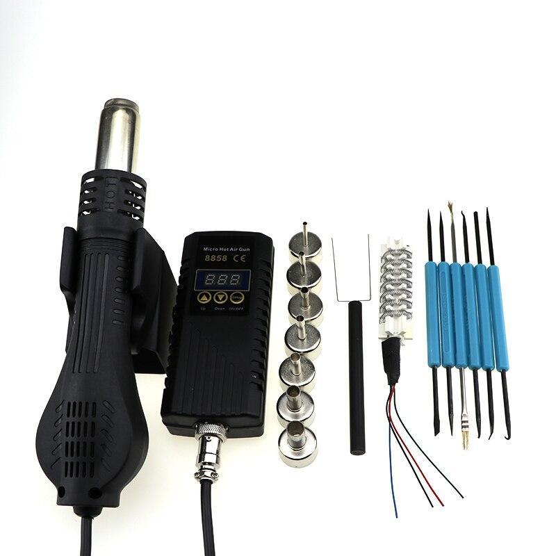 Паяльная станция BGA 8858 портативная фена для горячего воздуха 220 В с вилкой ЕС ручная Тепловая пушка со сварочным паяльником Инструменты для ремонта - Цвет: SET-4