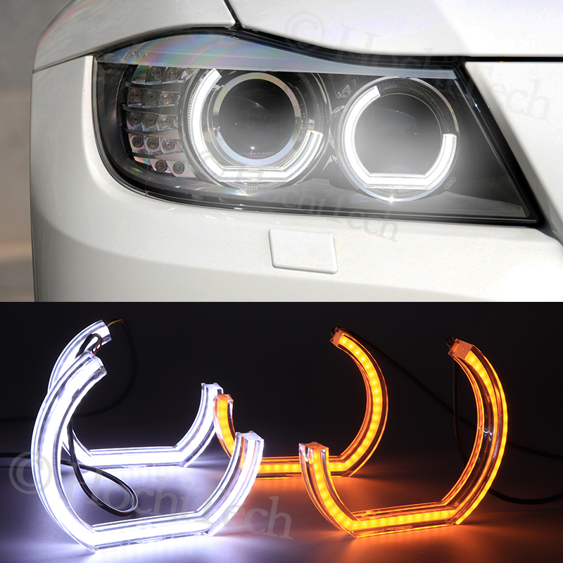 Switchback Dual Amber White Crystal C LED Angel Eyes Halo Rings For BMW 3 Series E91 E90 LCI 2009-2012 Xenon headlights image