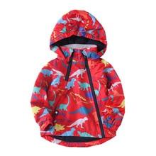 Warm Fleece Baby Girls Boys Jackets Fashion Waterproof Child Coat Dinosaur Print Children Outerwear Kids Outfits For 90-150cm