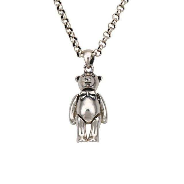 New Pure silver S925 Sterling Silver Bear Pandent Bear Keychian Men Women 925 Silver Bear Jewelry Animal Pendant Gift